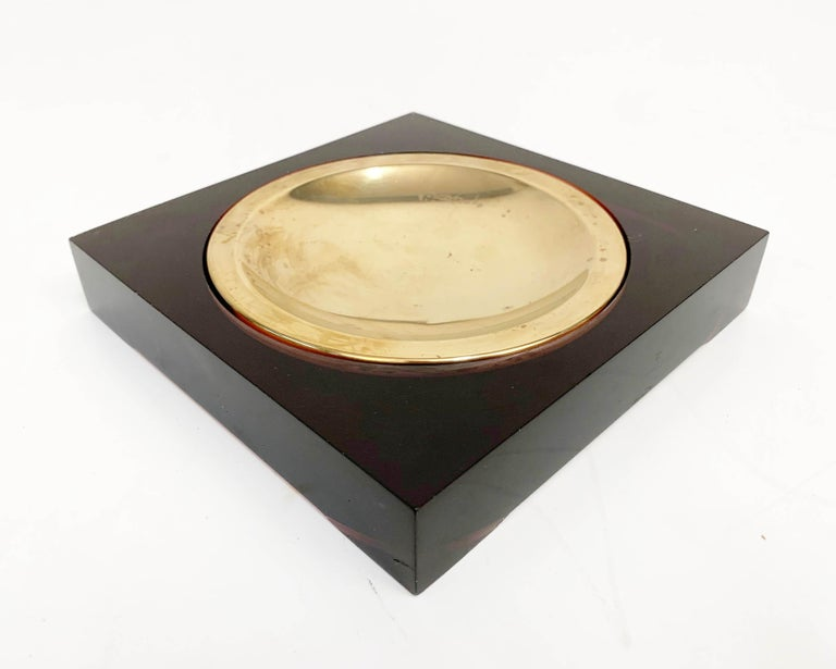 Midcentury Lucite and Brass Squared Valet Tray in Christian Dior Style, 1970 For Sale 1