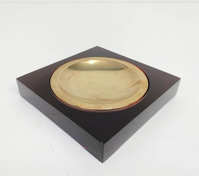 Midcentury Lucite and Brass Squared Valet Tray in Christian Dior Style, 1970 For Sale 3