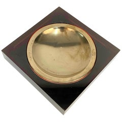 Midcentury Lucite and Brass Squared Valet Tray in Christian Dior Style, 1970