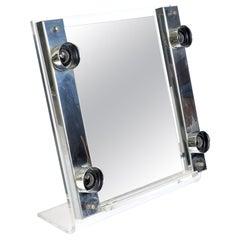Midcentury Lucite and Chrome Mirror