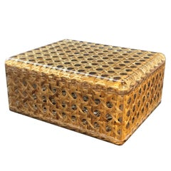 Midcentury Lucite and Vienna Straw Wicker Italian Box 1970s Christian Dior Style