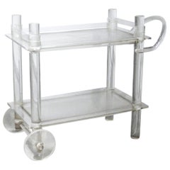 Midcentury Lucite Bar Cart, Removable Gallery, Lucite Wheels, Acrylic Sculpture