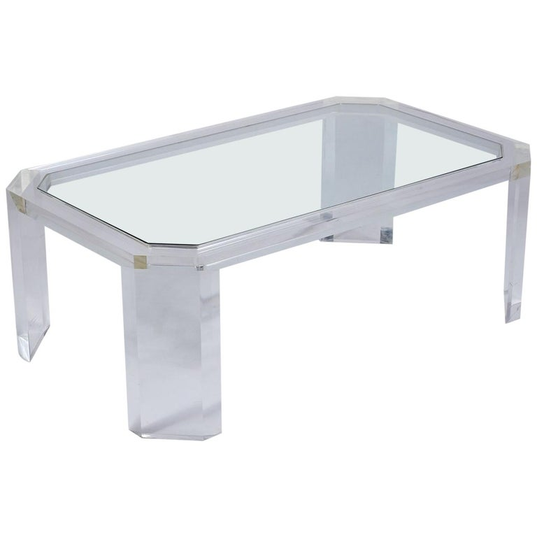 1970's Mid Century Lucite & Glass Coffee Table For Sale