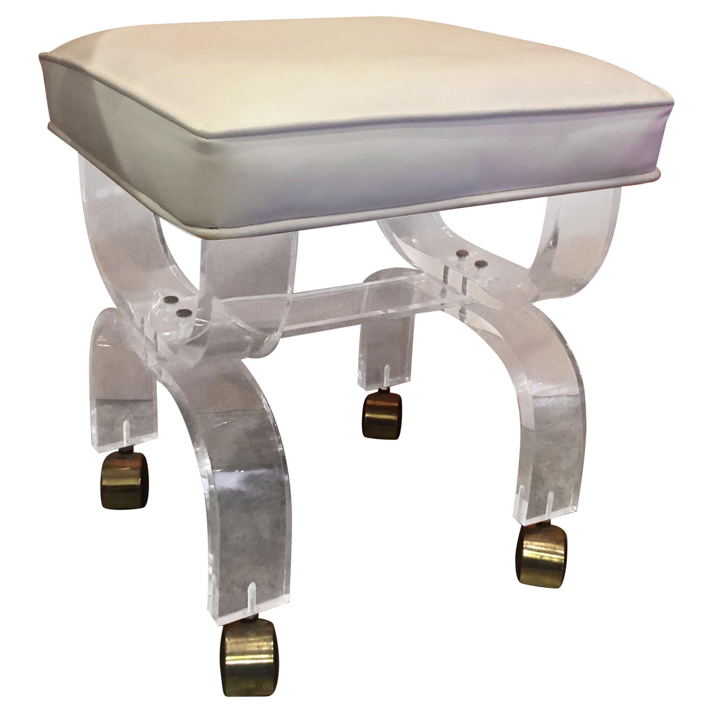 Midcentury Lucite Vanity Stool or Bench with White Seat