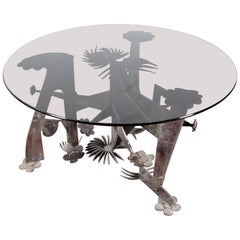 Mid-Century M. Fantoni Brutalist Wrought Iron and Glass Circular Brutalist Table