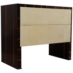 MidCentury Macassar and Goatskin Italian Chests of Drawers, 1950