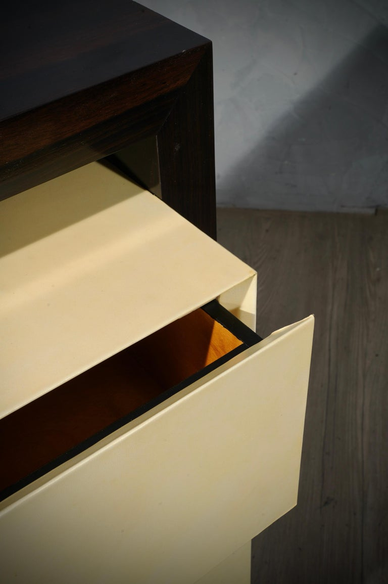 MidCentury Macassar and Goatskin Italian Chests of Drawers, 1980 For Sale 5