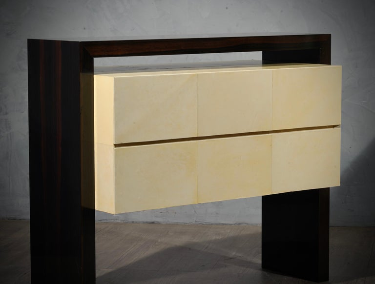 MidCentury Macassar and Goatskin Italian Chests of Drawers, 1980 For Sale 7