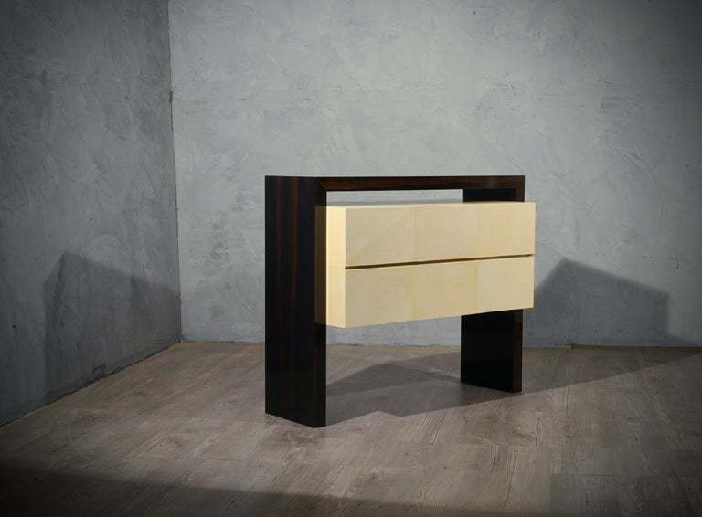 Mid-Century Modern MidCentury Macassar and Goatskin Italian Chests of Drawers, 1980 For Sale