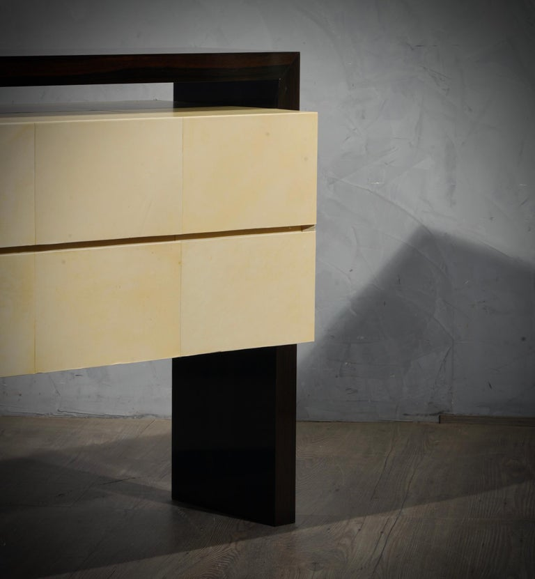 MidCentury Macassar and Goatskin Italian Chests of Drawers, 1980 For Sale 3