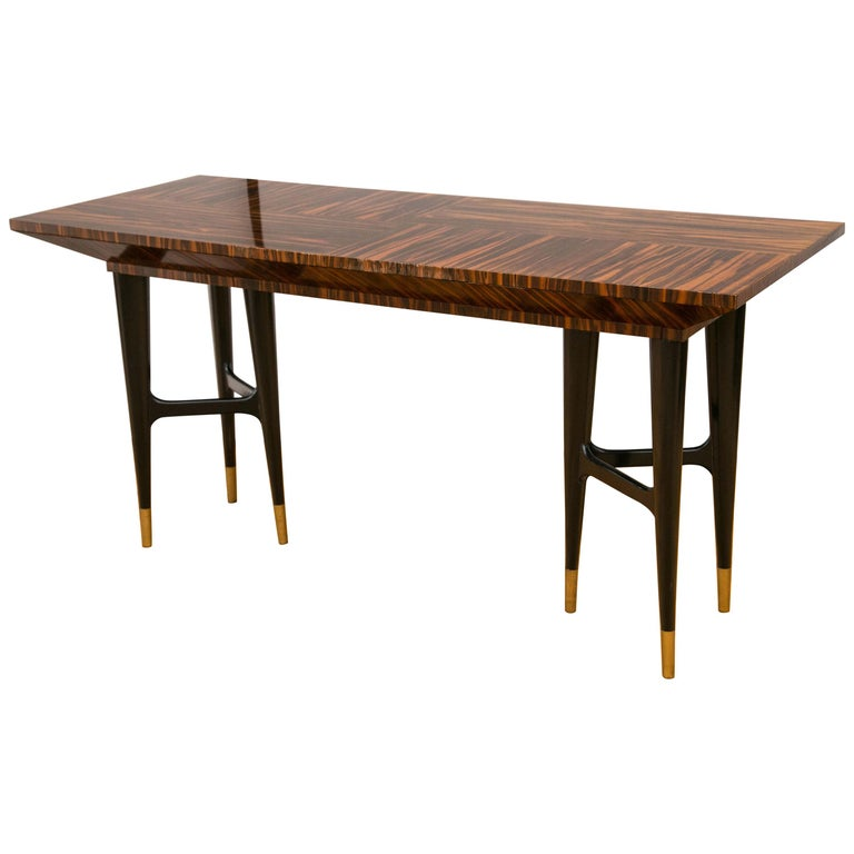Midcentury Macassar Ebony Writing Desk in the Manner of Gio Ponti For Sale