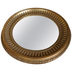 Midcentury Made Round and Gilt Convex or Butler Mirror by Compagnie Des Bronzes