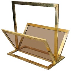 Midcentury Magazine Rack Attributed to Fontana Arte in Brass and Glass, 1960s