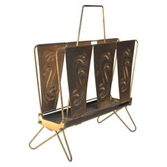 Midcentury Magazine Rack Sigg Switzerland Brass, 1950s