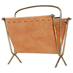 Midcentury Magazine Rack Stand Brass Stitched Suede Leather Kalmar 1950s Austria