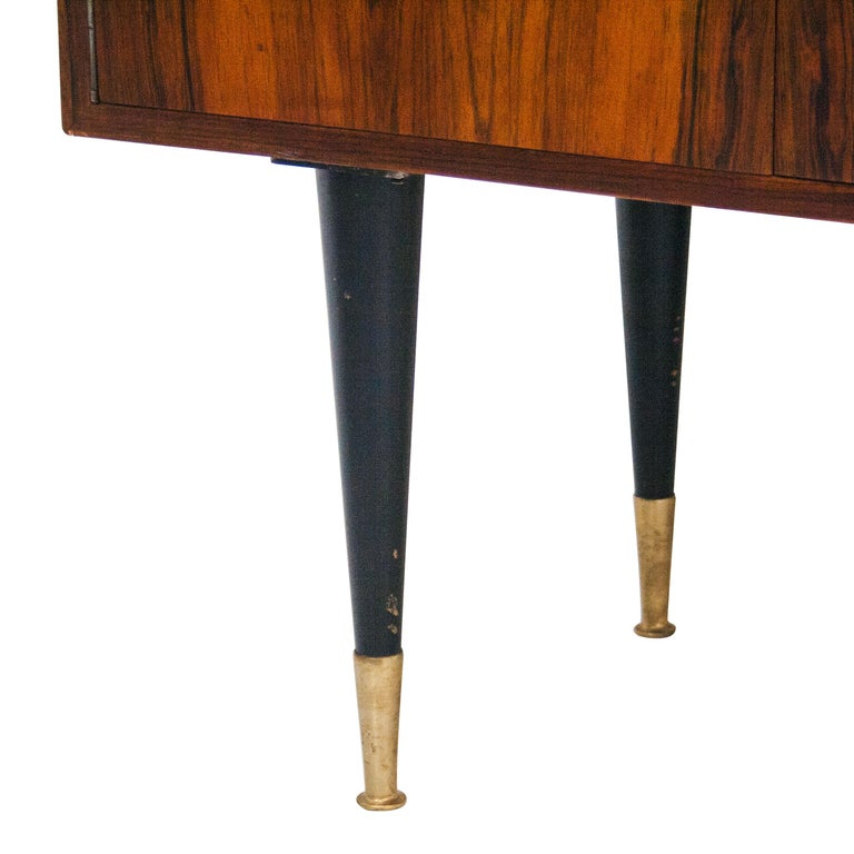 Midcentury Mahogany Brass Bar Cabinet, Italy, 1950 In Good Condition For Sale In Madrid, ES