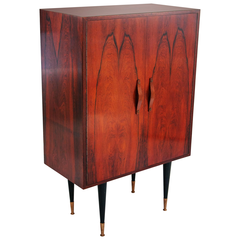 Midcentury Mahogany Brass Bar Cabinet, Italy, 1950