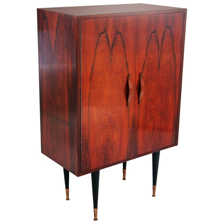 Midcentury Mahogany Brass Bar Cabinet, Italy, 1950 For Sale