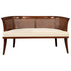 Midcentury Mahogany, Cane and Upholstered Bench in the Style of Edward Wormley