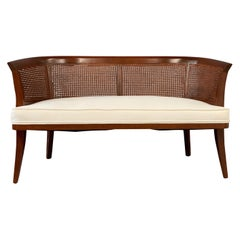 Mid-Century Mahogany, Cane and Upholstered Bench in the Style of Edward Wormley