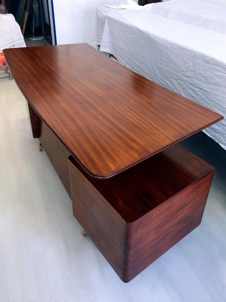 Midcentury Mahogany Desk and Bookcase by La Permanente Mobili Cantù, 1950s For Sale 4