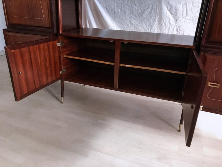 Midcentury Mahogany Desk and Bookcase by La Permanente Mobili Cantù, 1950s For Sale 10