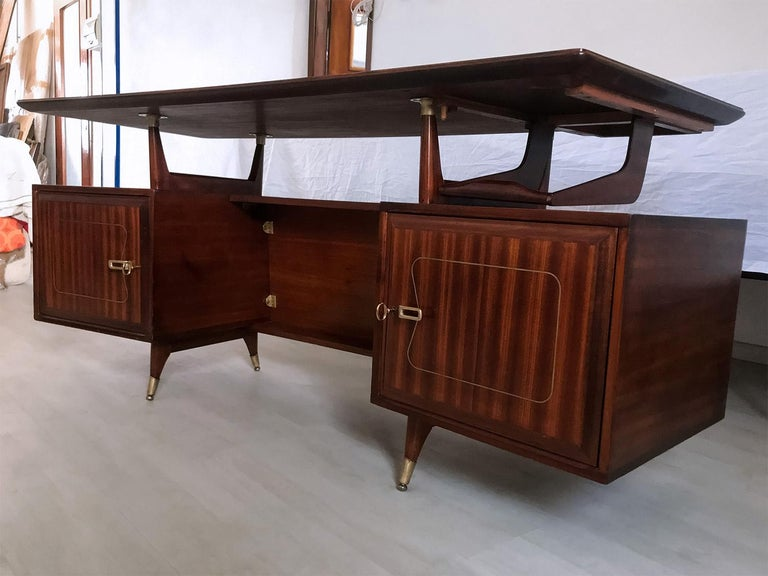 Mid-Century Modern Midcentury Mahogany Desk and Bookcase by La Permanente Mobili Cantù, 1950s For Sale