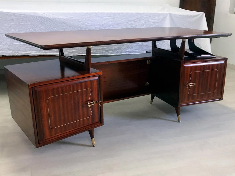 20th Century Midcentury Mahogany Desk and Bookcase by La Permanente Mobili Cantù, 1950s For Sale