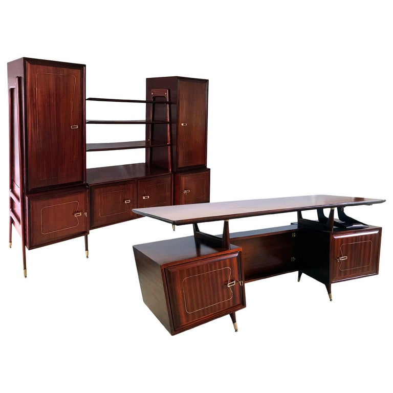 Midcentury Mahogany Desk and Bookcase by La Permanente Mobili Cantù, 1950s For Sale
