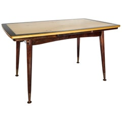 Midcentury Mahogany Extendable Lifting Table, Resopal Glass Plate, Ilse Möbel