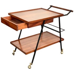 Midcentury Mahogany Italian Bar Trolley with Bottle Holder and Drawer, 1960s