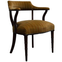 Midcentury Mahogany Regency Style Barrel Library Chair with Faux Bamboo Legs