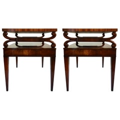 Midcentury Mahogany Scrolled Leather End Side Tables by Weiman, Pair