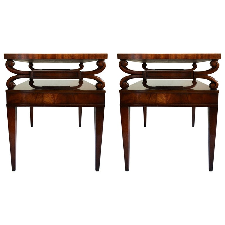 Midcentury Mahogany Scrolled Leather End Side Tables by Weiman, Pair For Sale