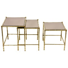 Midcentury Maison Baguès Mirror and Brass Nesting Coffee Tables, France, 1960s