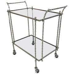 Midcentury Maison Baguès Silvered Brass Faux Bamboo Bar Cart, 1960s, France