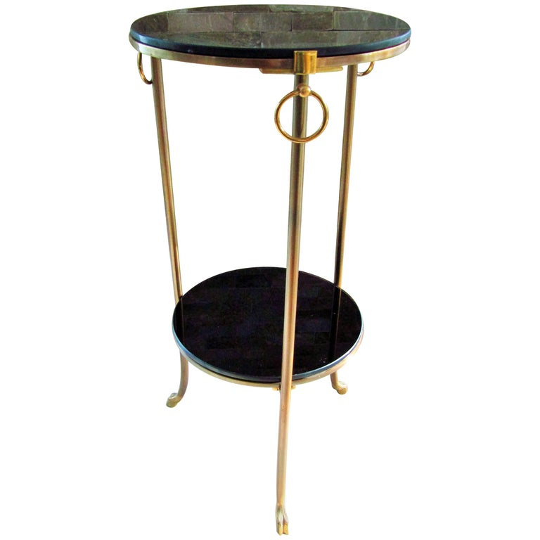Midcentury Maison Charles Brass Side Table For Sale