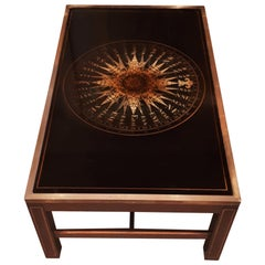 Midcentury Maison Jansen Mahogany and Églomisé Black Glass Compass Coffee Table