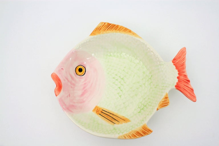 Midcentury Majolica Glazed Ceramic Set of Fish Sculptures Wall Composition For Sale 1