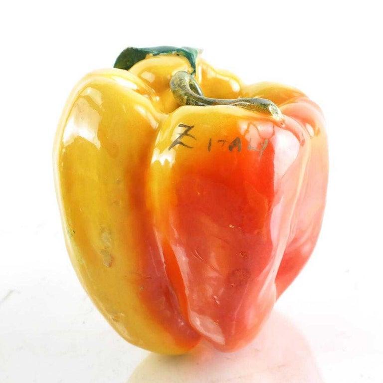 Mid-Century Modern Midcentury Majolica Italian Fruit and Pepper Set, Yellow, Red, Green, Handmade For Sale