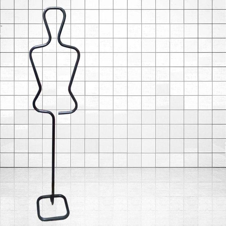 Midcentury Male Coatracks Stand, Tubular Black, Italy, 1980s 'Male' 9