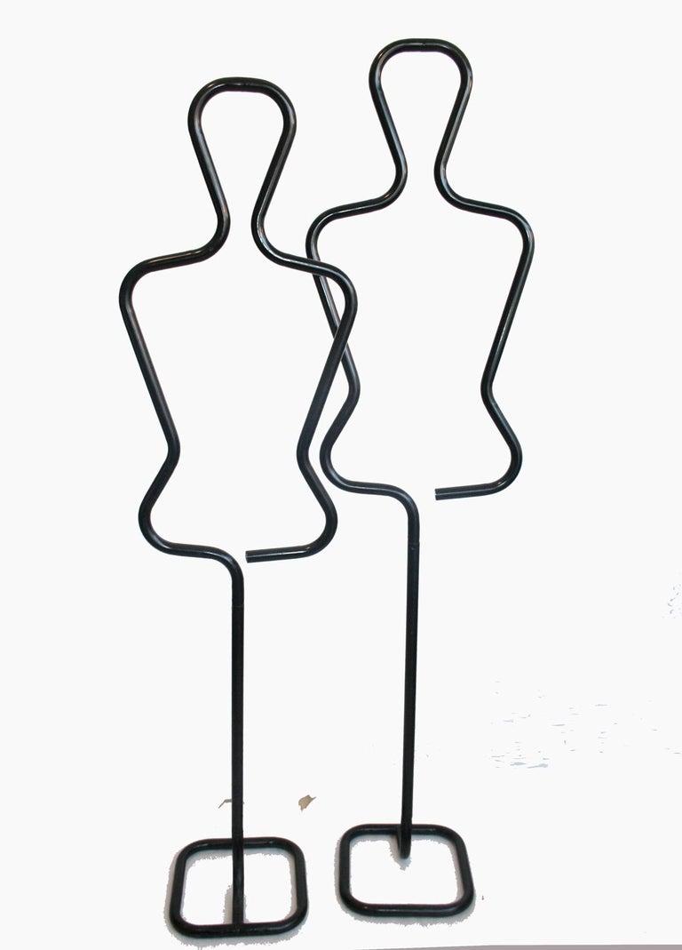 Midcentury Male Coatracks Stand, Tubular Black, Italy, 1980s 'Male' In Good Condition In Mombuey, Zamora