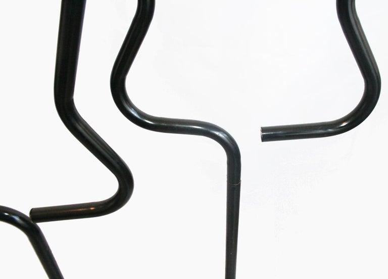 Midcentury Male Coatracks Stand, Tubular Black, Italy, 1980s 'Male' 1