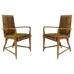 Mid-Century Maple and Floral Upholstered Studio Armchairs