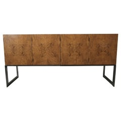 Midcentury Maple Burl and Chrome Credenza by Milo Baughman