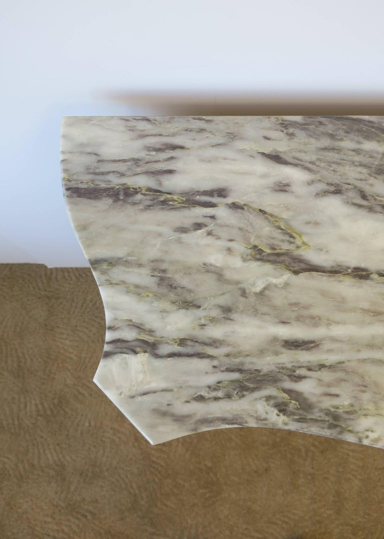 Neoclassical Marble and Brass Console Table For Sale 7