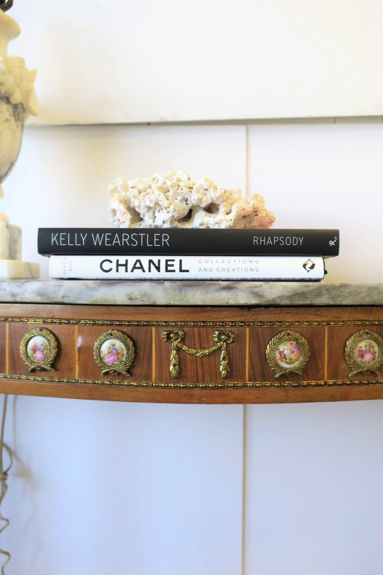 Neoclassical Marble and Brass Console Table For Sale 13