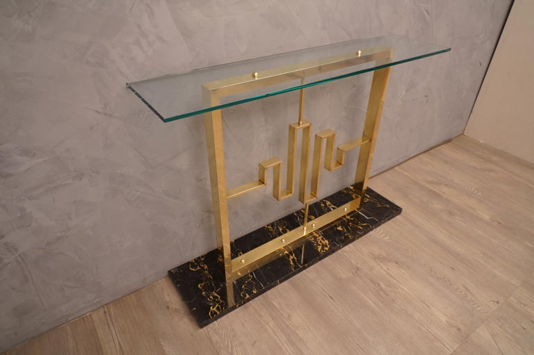 Mid-Century Modern Midcentury Marble Brass and Glass Console Table, 1980 For Sale