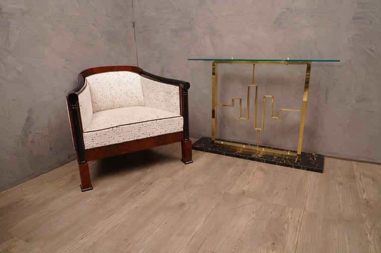 Italian Midcentury Marble Brass and Glass Console Table, 1980 For Sale