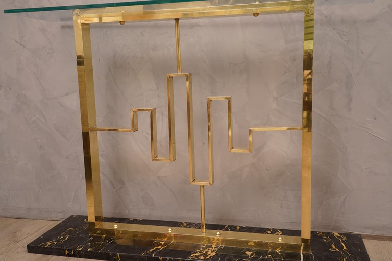 Midcentury Marble Brass and Glass Console Table, 1980 In Good Condition For Sale In Rome, IT